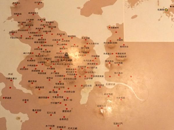 名護屋城と陣屋の分布図