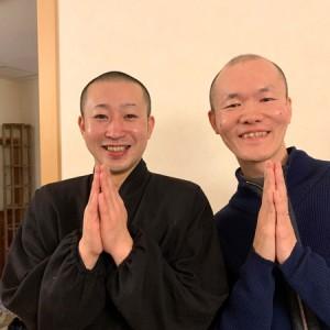 おおま宿坊普賢院の菊池雄大さんとほーりー